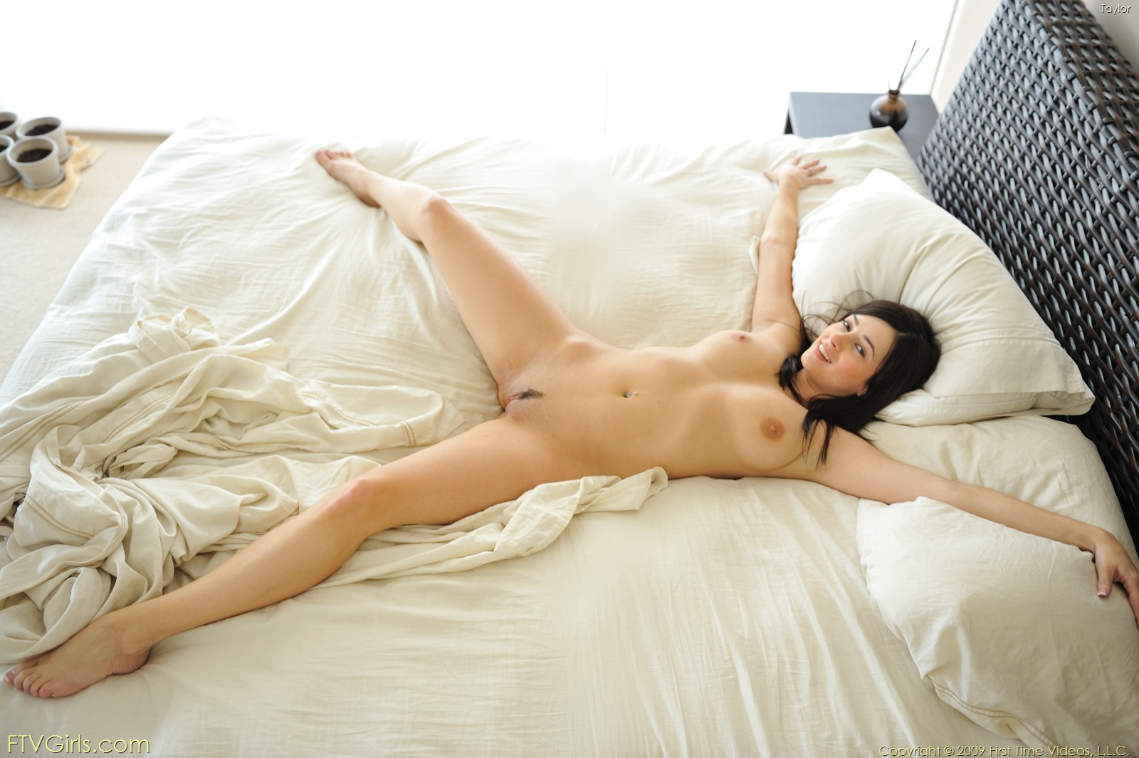 on bed Hot nude spread brunettes