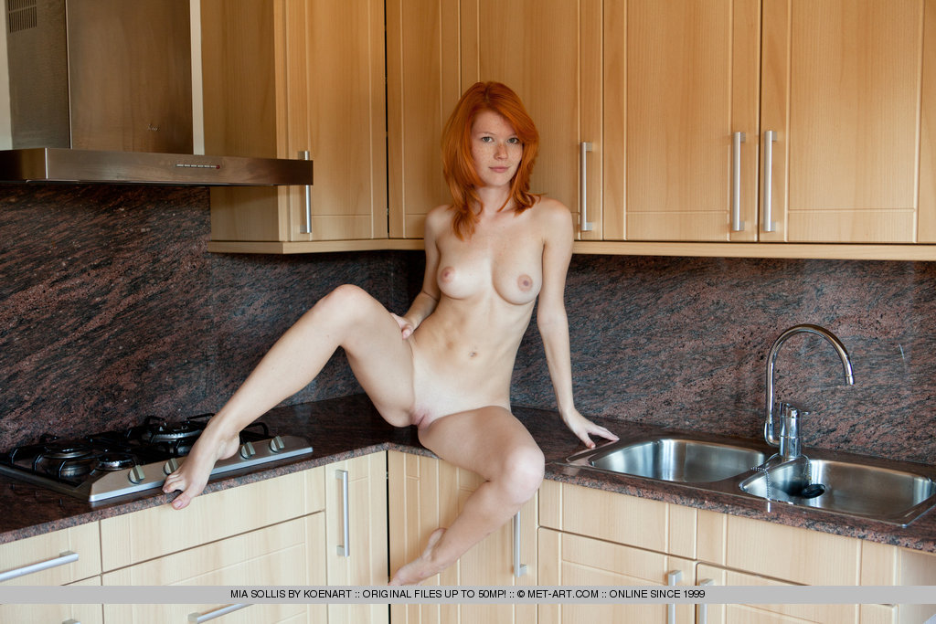 redhead with bare feet